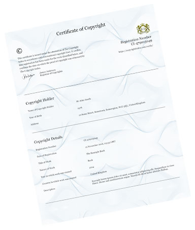 Official Copyright Certificate